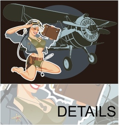 retro military pin-up vector image