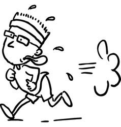 running man - black line vector image