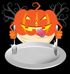 Scary pumpkin holding spoon and knives on dish for vector image