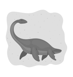 Sea dinosaur icon in monochrome style isolated on vector