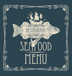 seafood menu with hand tray fish sailing ship vector image