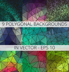 Set of 9 abstract triangle polygonal backgrounds vector image