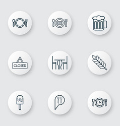 Set of 9 food icons includes lolly check in vector