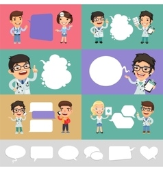Set of a Speaking Cartoon Doctors vector