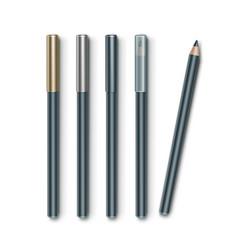 set of grey blue cosmetic makeup eyeliner vector image