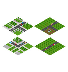 set of isometric modules vector image