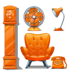 set of quilted leather chair orange color table vector image