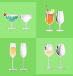 Set of refreshing cocktail empty glasses margarita vector