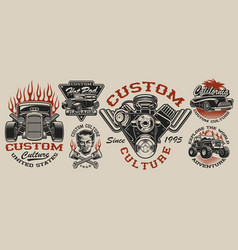 set vintage hot rod designs on light vector image