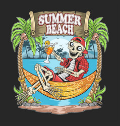 skull summer beach coconut tree artwork vector image