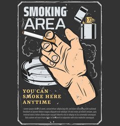 smoking area cigarette in hand and lighter vector image