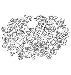 social hand drawn cartoon doodles funny media vector image