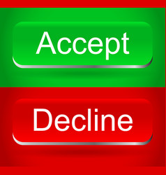 stylish modern accept decline buttons vector image