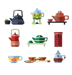 Tea Cup and Kettle Set Flat vector image