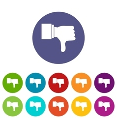 Thumb down gesture set icons vector image