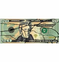 torn 20 dollar vector image