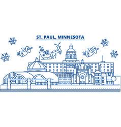 Usa minnesota st paul winter city skyline vector