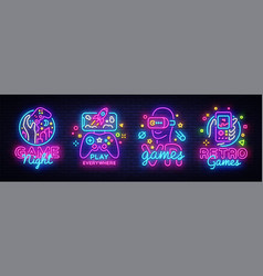 Video games logos collection neon sign vector