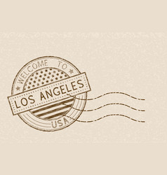 Welcome to los angeles usa tourist brown stamp vector