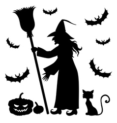 Witch vampire cat vector