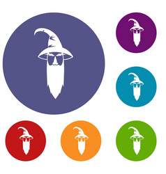 Wizard icons set vector