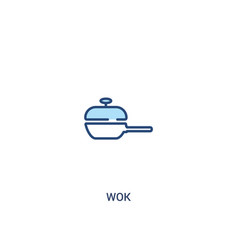 Wok concept 2 colored icon simple line element vector