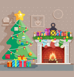 year tree winter holiday room vector image