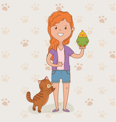 young woman with cute cat and parrot vector image