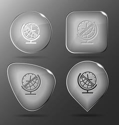 Globe and clock Glass buttons vector image vector image