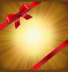 golden sunburst with red ribbon and bow vector image