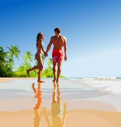 happy couple on the tropical seashore vector image vector image