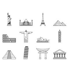 Landmark Icons set vector image