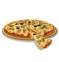 pizza with mushrooms and cheese vector image vector image
