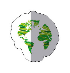 sticker shading colorful continents with textile vector image
