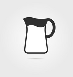 black pitcher with milk and shadow vector image