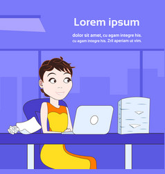 business woman working on laptop computer sit at vector image