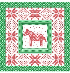 Christmas pattern with horse and snowflakes in vector