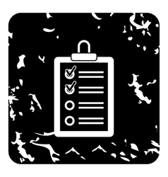 Clipboard with checklist icon grunge style vector