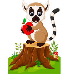 cute lemur standing on tree stump vector image vector image