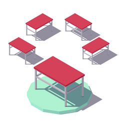 isometric red office table vector image vector image