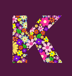 letter of beautiful flowers k vector image