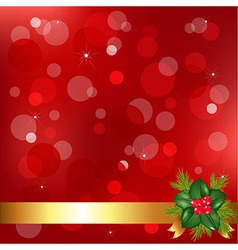 Red Christmas Background With Holly Berry vector image vector image