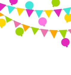 Simple Multicoloredl Buntings Flags and Balloons vector image vector image