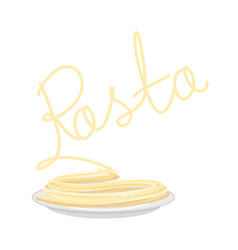 pasta on plate isolated spaghetti on dish on vector image