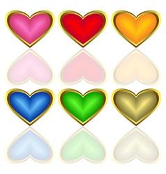 set of multicoloured hearts vector image vector image