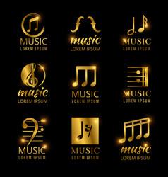 shiny golden music logos set vector image vector image