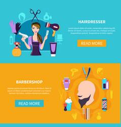 two hairdresser banner set vector image