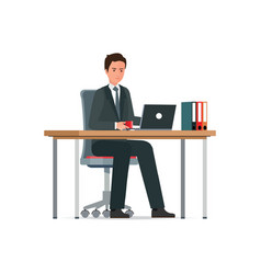 business man in a suit working on a laptop vector image vector image