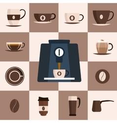 Coffee set flat icon Design set vector image