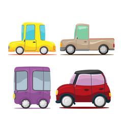 cute cars cartoon collection set vector image